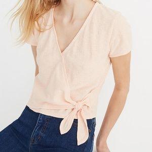 Texture & Thread Madewell Wrap-Tie Top Peach